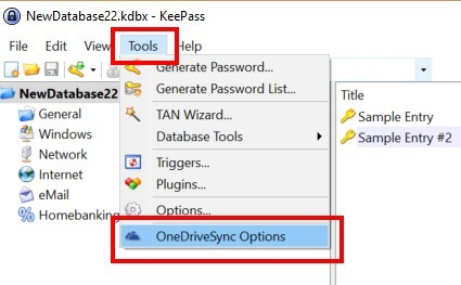 KeePass OneDrive Sync Options