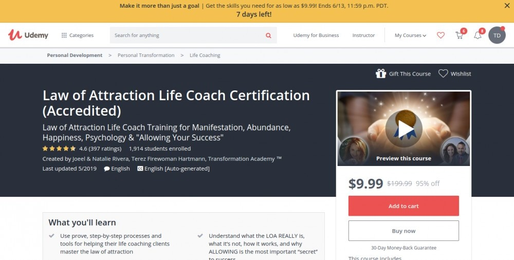 best law of attraction courses online   #1 Law of Attraction Life Coach Certification