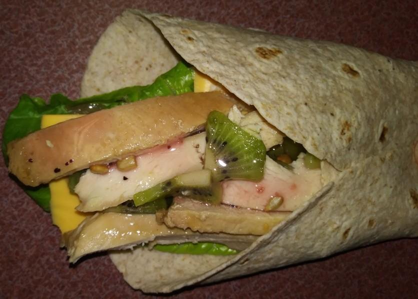 My Teriyaki Chicken wrap with kiwi