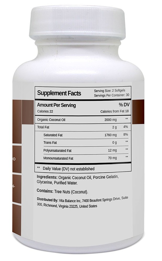 Coconut Oil - Supplement Facts