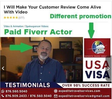 Photo of a paid fiverr actor doing fake testimonials