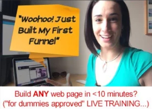 Photo of young lady who is saying that she just built her first funnel with Click Funnels