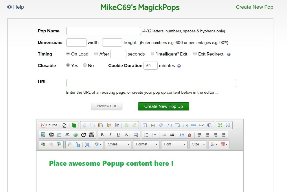 This image is of the popup generator within Click Magick