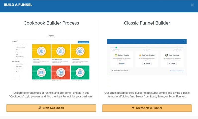 The image is of the start a funnel area inside Click Funnels.