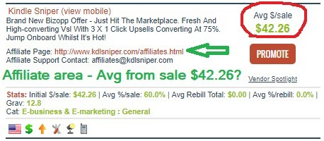 Picture of clickbank affiliate promotion for Kindle Sniper