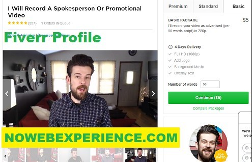 This is a picture of the Fiverr profile of the fake sales letter actor