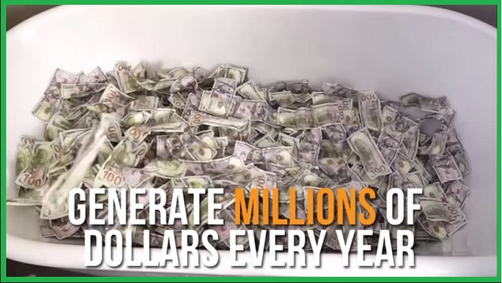 photo of a large pile of money that 30 Day Success Club states you can make millions every year with their product