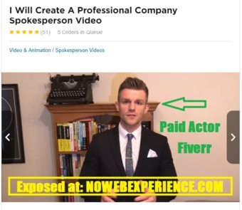 This image is the bio of a paid fiverr actor that appears in the AZ Sniper sales video as a testimonial scam