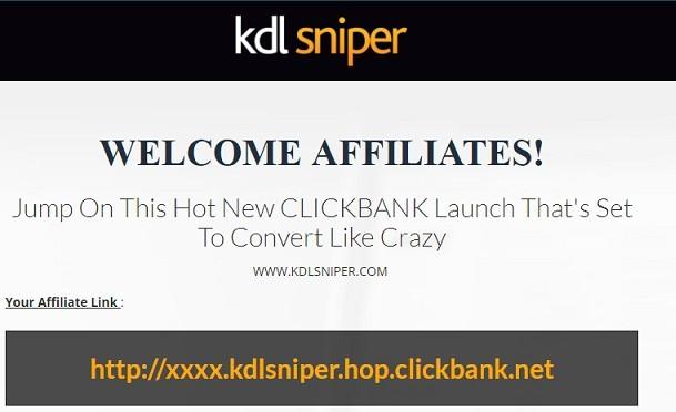 Picture of the Welcome affiliates banner for Kindle Sniper on ClickBank