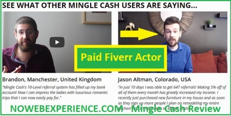 Is Mingle Cash a scam with fake video testimonials from paid actors?