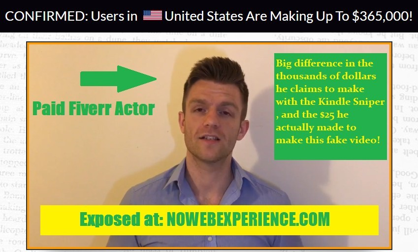 This is a photo of a guy in the Kindle sniper sales video who claims to have made rediculous amounts of money, but is just a fiverr actor