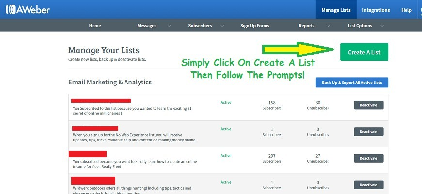 screenshot of the create a list feature in the Aweber review