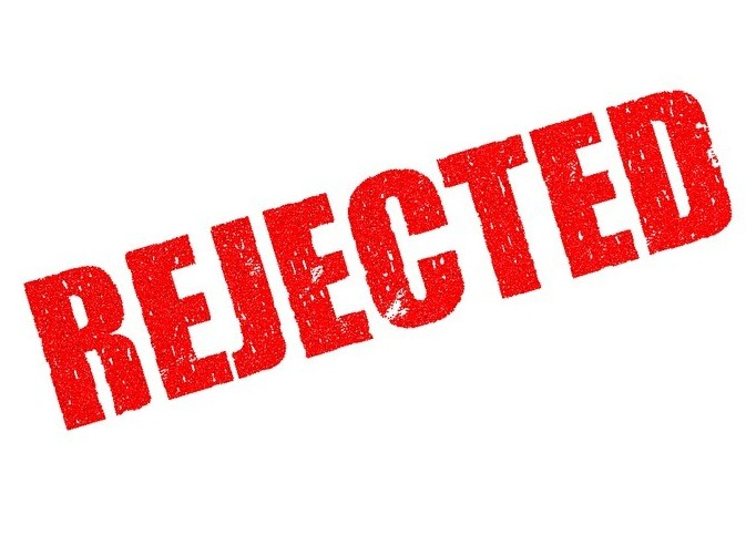Graphic that says rejected