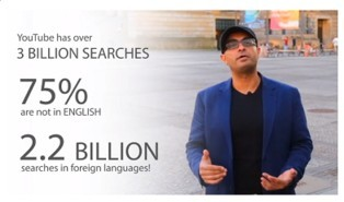 This image is a graphic that says 2.2.billion searches in YouTube are not in english in the ,Is Lingo Blaster a scam or a real way to translate video descriptions and get ranked review