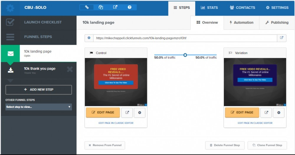 an example image of split testing landing pages within your Click Funnels , funnel