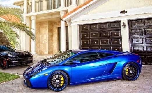 Photo of a beautiful blue Lamborghini