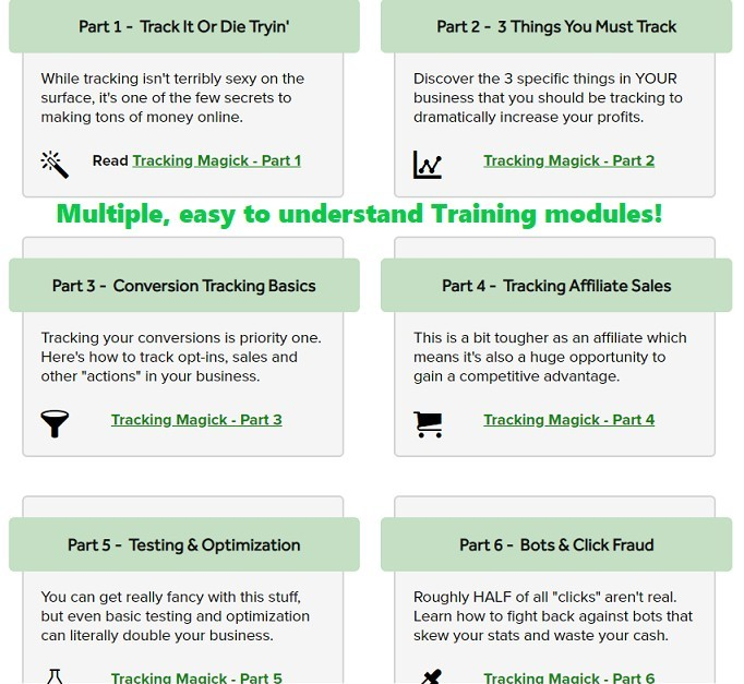 6 modules of advanced tracking training