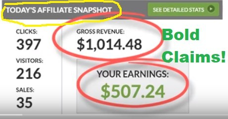 This is an image of an earning report in the You Targetr scam report