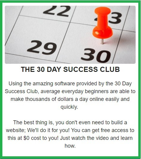 Picture of the claims made by 30 Day Success club