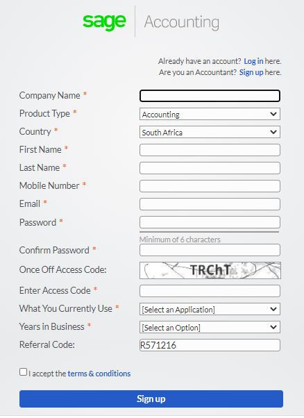 sage accounting sign up page