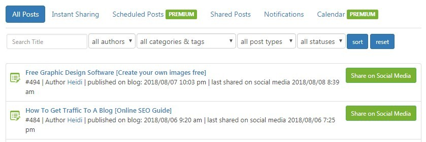 posts & Sharing Screen - Blog2Social