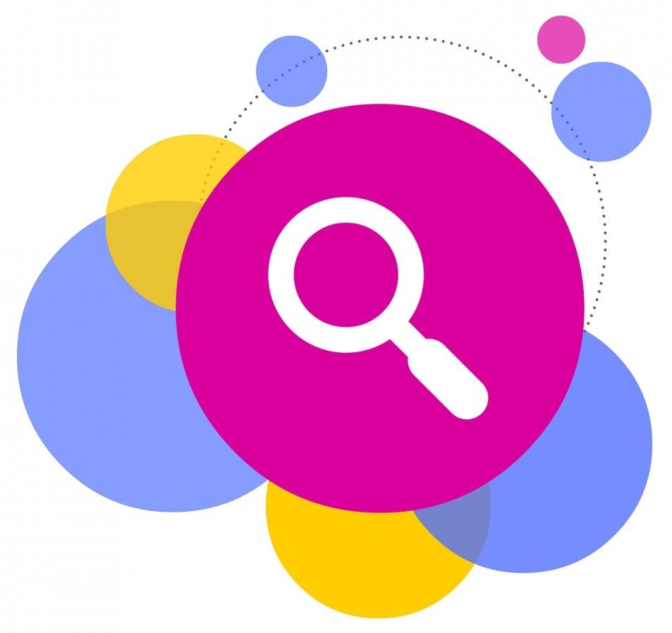 colourful bubble search graphic