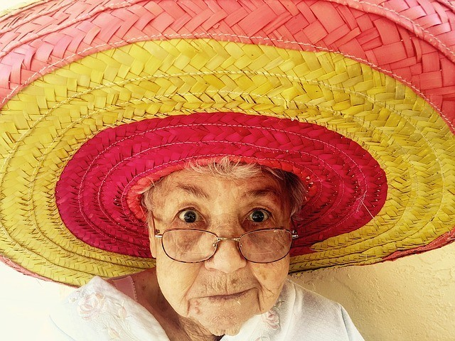 Glamorous Granny with red & yellow sombrero
