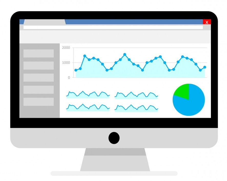 Google analytics graphs on computer screen