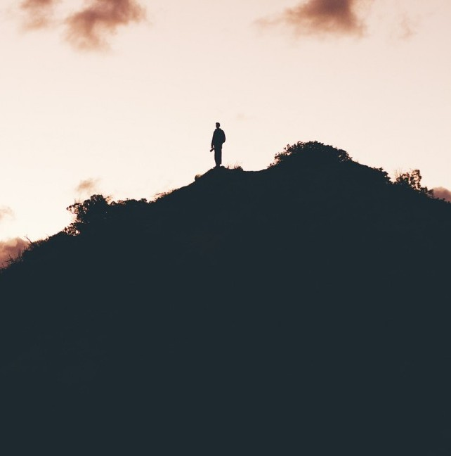 Person on hilltop