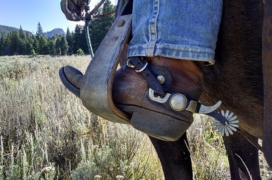 Horse rider wearing spurs