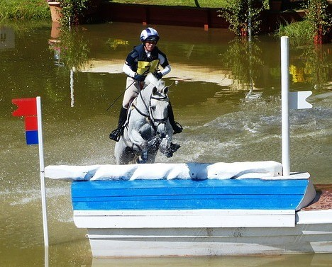 Cross country horse jumping in water