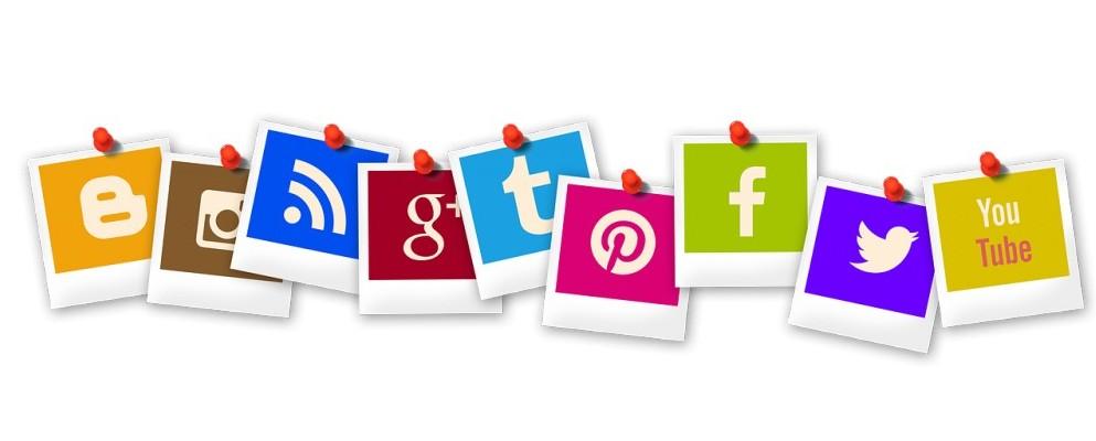 Social media icons as Polaroid photos and pins