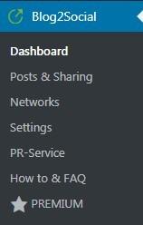 Blog2Social WordPress menu