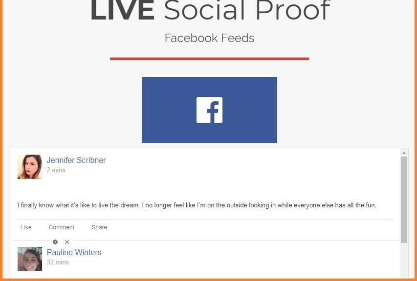 a screenshot of fb live social proof