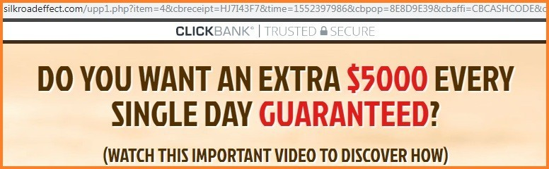 'do you want an extra $5000 every single day guaranteed?' claim from silk road effect creators