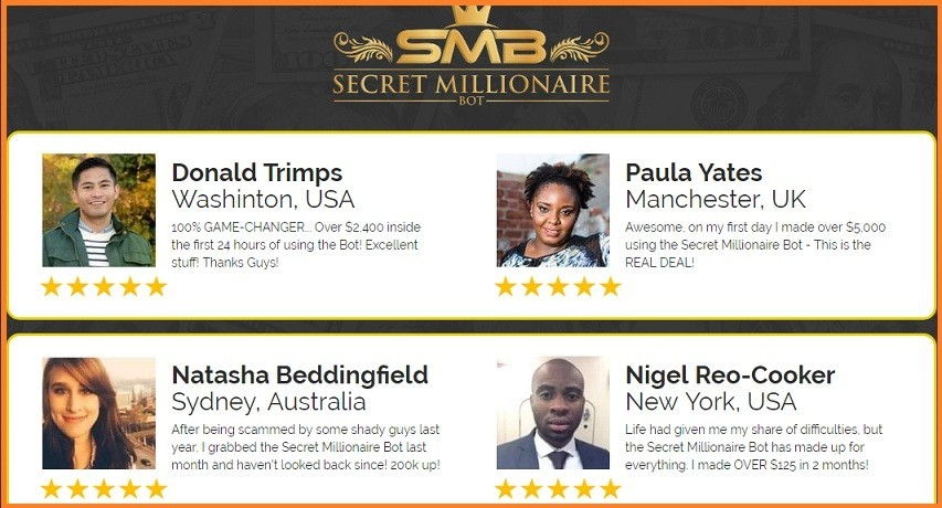 Fake testimonials for Secret Millionaire Bot
