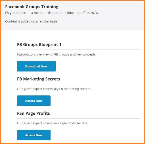 fb groups training outline: blueprint 1; fb marketing secrets; fan page profits