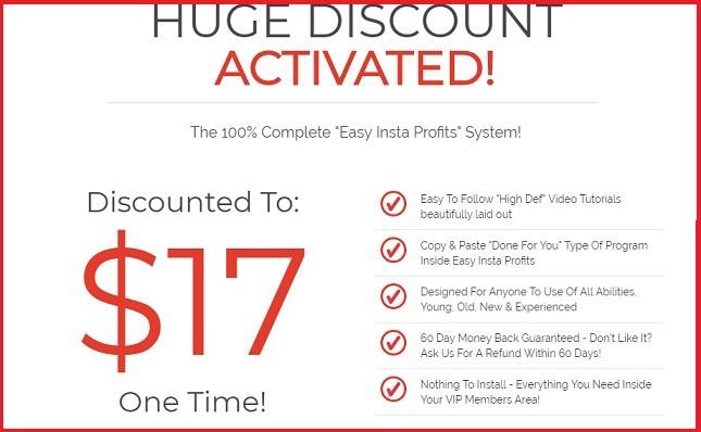 Easy insta profits discount pop up
