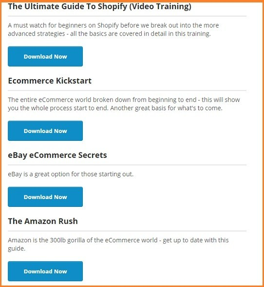ecommerce training guide to shopify, ecommerce kickstart, selling on ebay and amazon rush