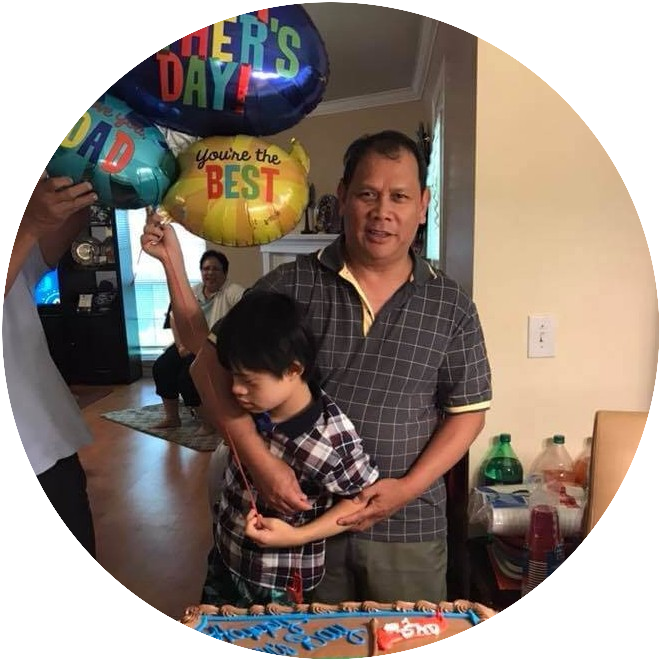 Down syndrome son with Dad on father's day