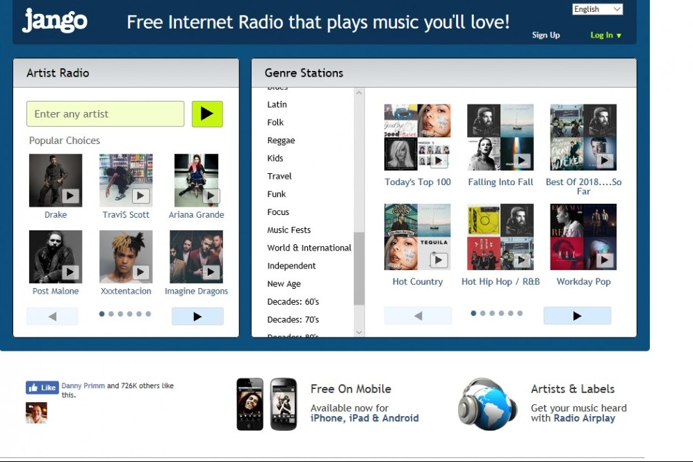Jango for free online music