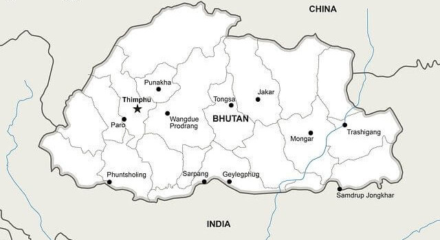 Tourism Bhutan -- country map