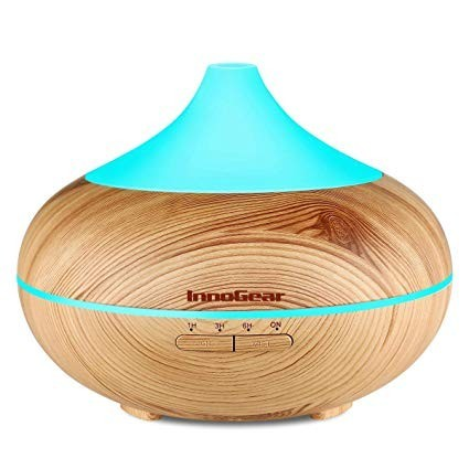 This diffuser is made out of a wood grain and has a 500mL tank that can last up to 15 hours.