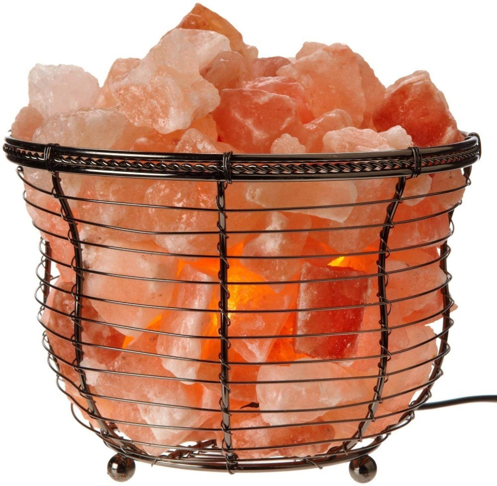 This salt lamp comes in pieces in a modernly designed metal vase.