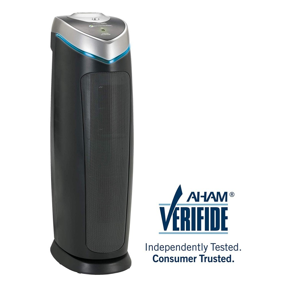 The 3-in-1 Germ Guardian features a HEPA filter, carbon filter, and a UV-C light with titanium oxide technology to capture air particles and kill germs hence the name.