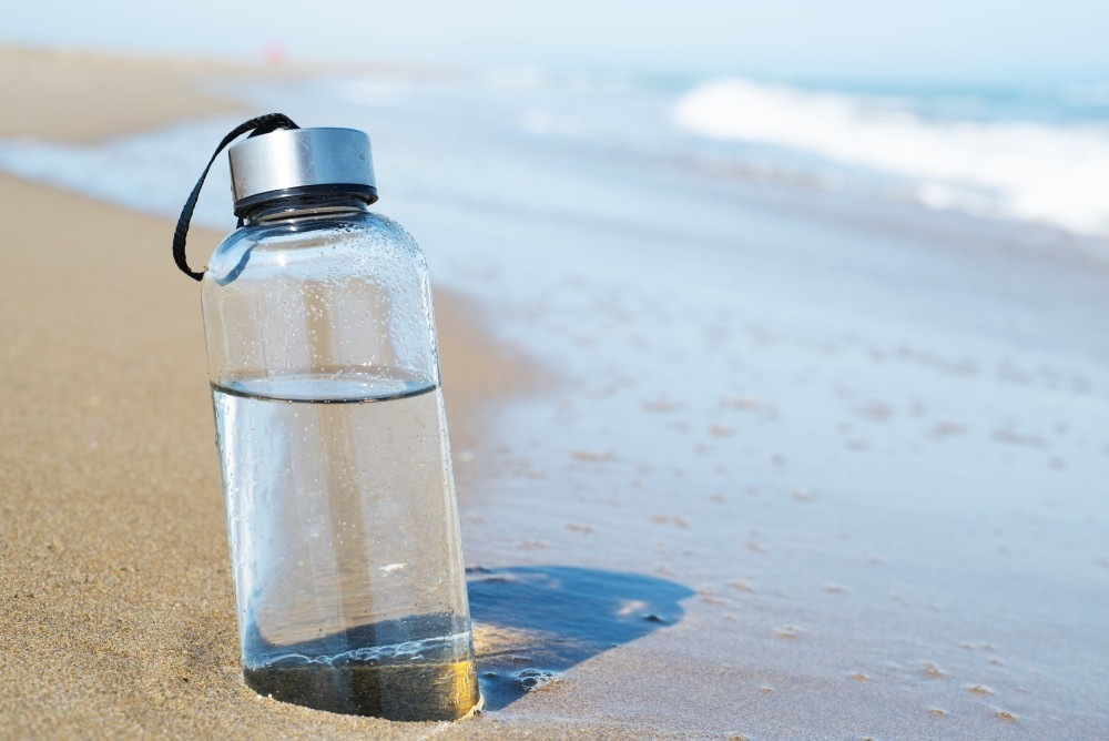 Reusable water bottles are great for travel.