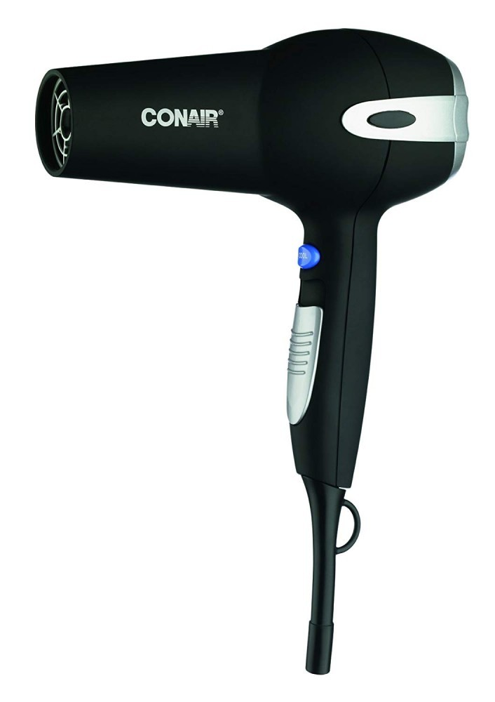 This hair dryer features tourmaline ceramic technology to produce negative ions to prevent frizzing while drying hair faster.