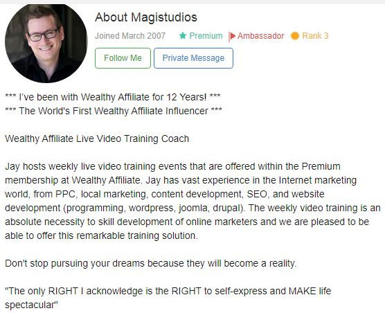 Jay magistudios live training image,is wealthy affiliate worth it