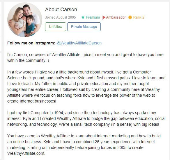 Carson how good is wealthy affiliate