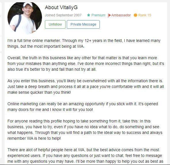 Vitaliy G how good is wealthy affiliate